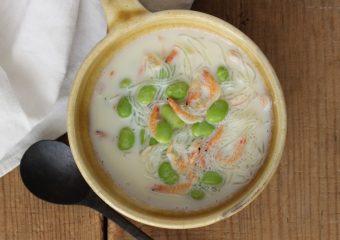 枝豆と桜海老の春雨クリームスープ