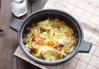 キャベツときのこのグラタン風チーズ焼き