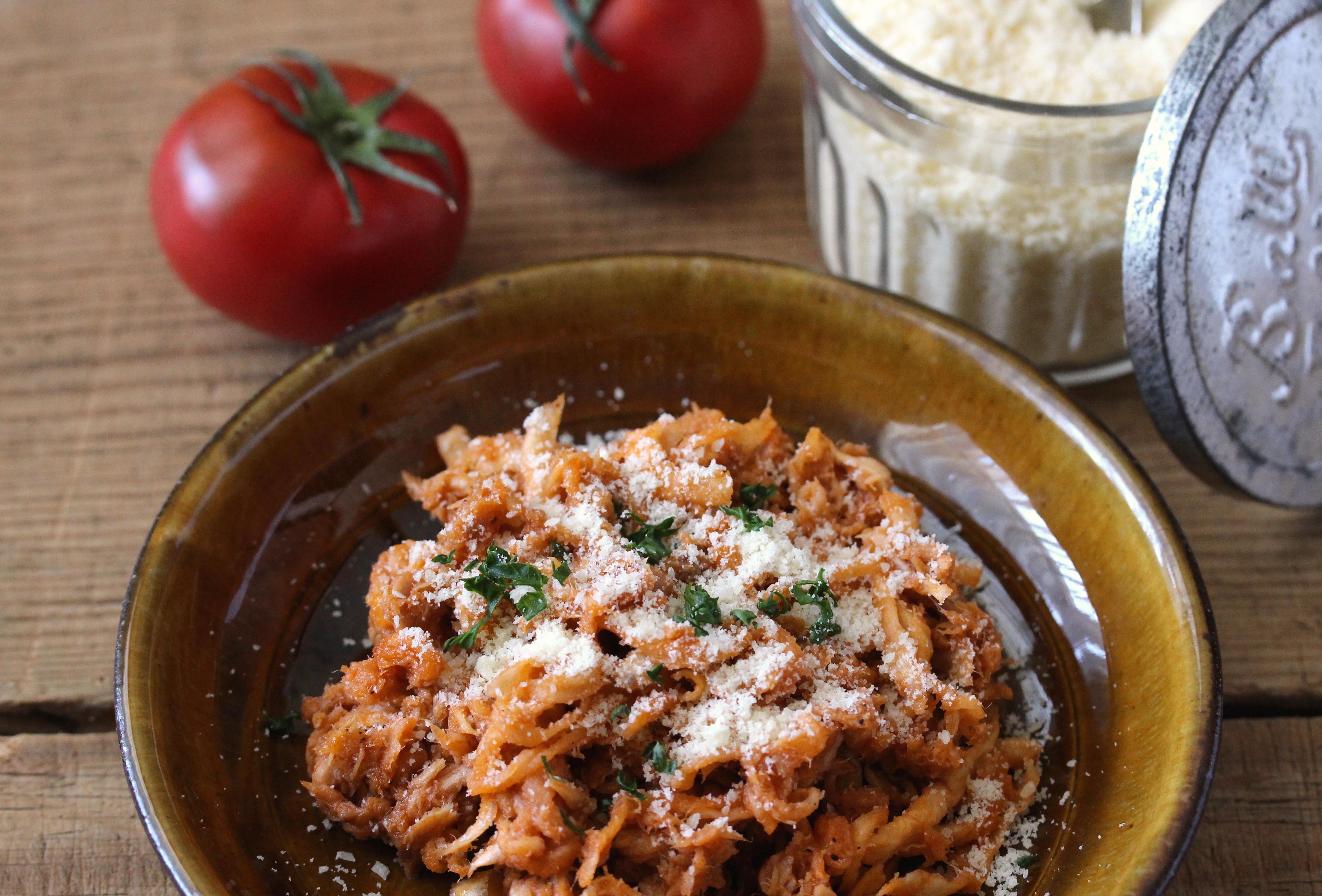 切り干し大根とツナのトマトパスタ風