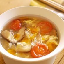 寒天と椎茸のたまごスープ
